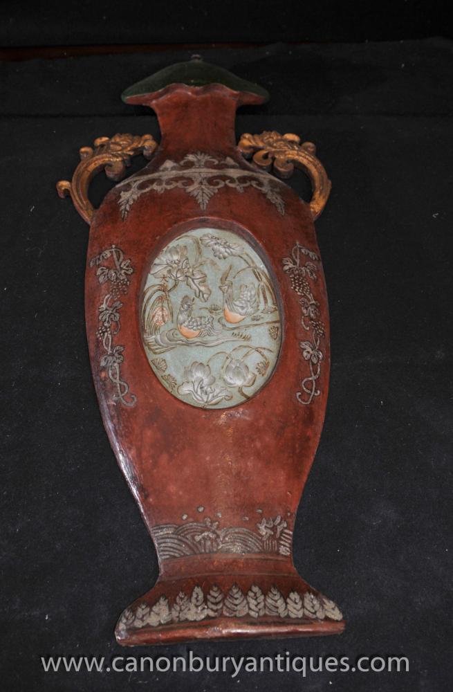Pair chinesischen Wooden Hand geschnitzte Urne Plaques