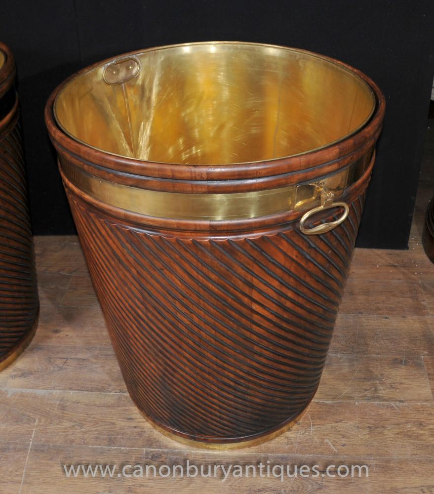 Riesen Victorian Peat Bucket Topf Mahagoni Messing