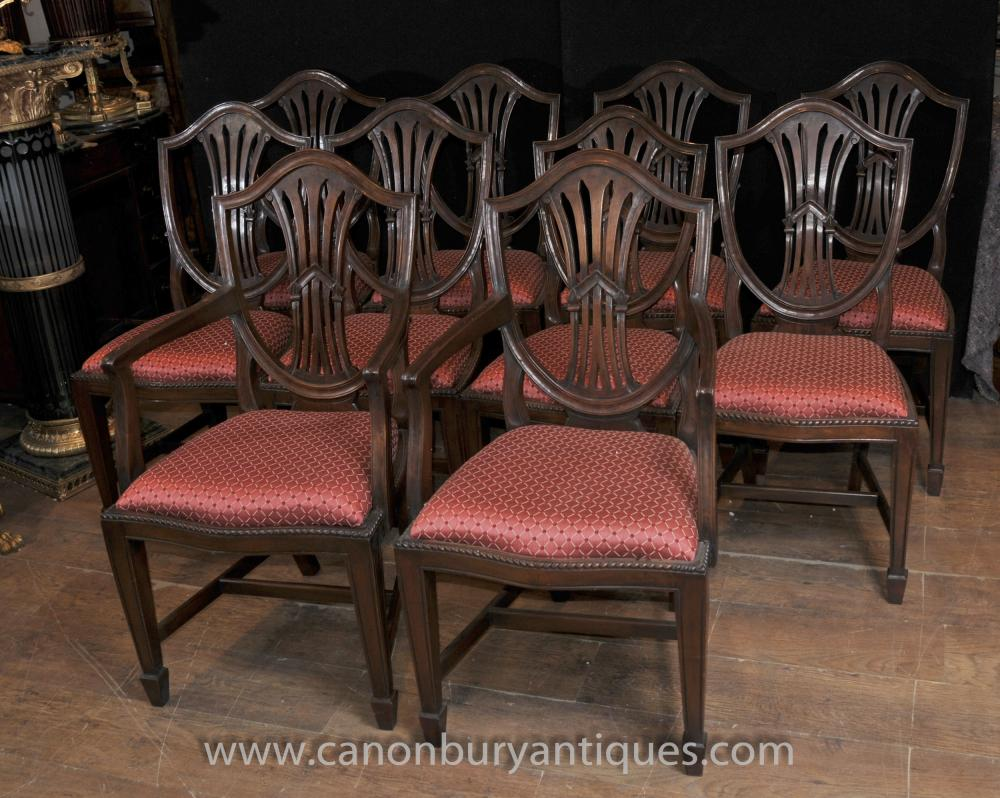 Set 10 Mahagoni Hepplewhite Dining Chairs Diners Arm Chair