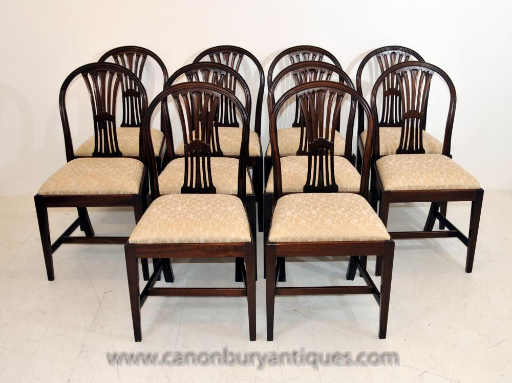 Set 10 Victorian Mahagoni Dining Chairs Diners Möbel