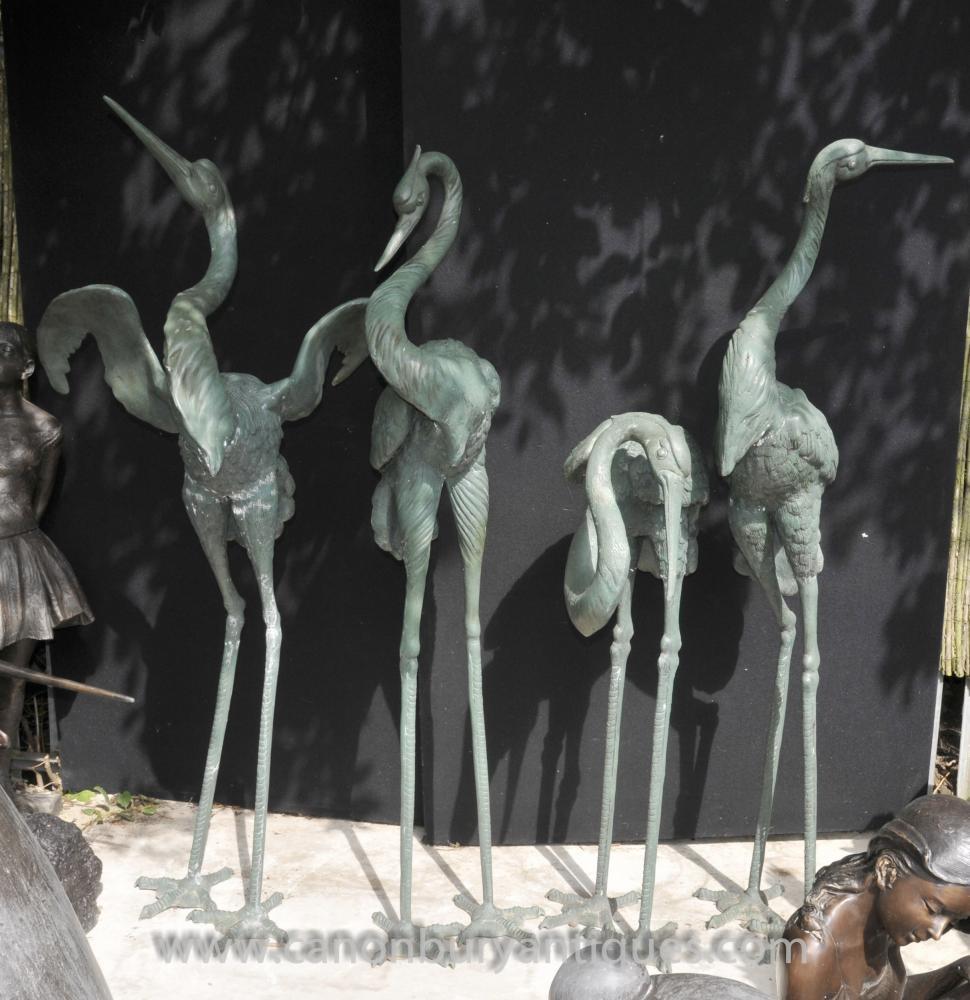 Set 4 Japanese Bronze Störche Vögel Stork Crane Flamingo