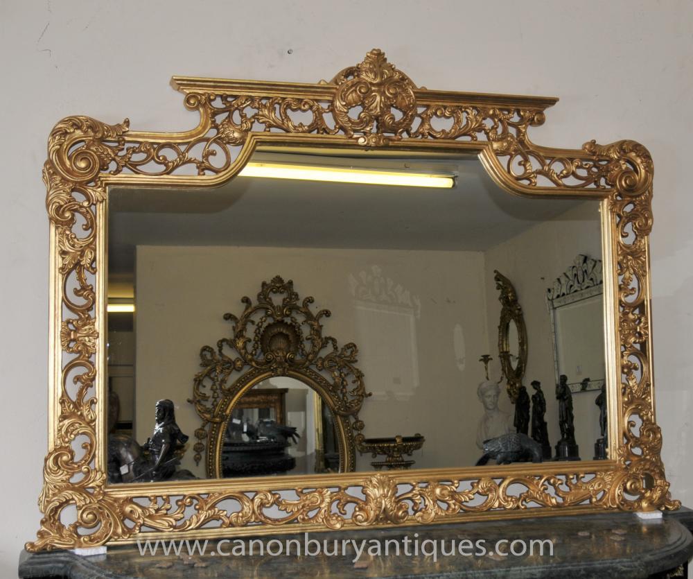 Victorian Gilt Mantel Spiegel verzierten Rahmen Spiegel