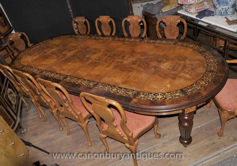 Victorian Walnut Dining Set Tisch und Queen Anne Stühle