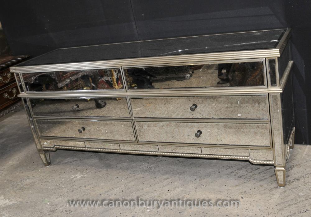XL Art Deco Gespiegelte Kommode Schubladen Sideboard Spiegel Möbel