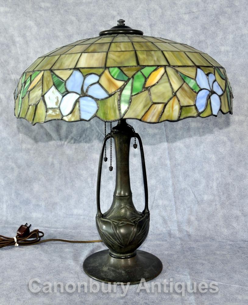Antike Kunst Nouveau Tiffany Tischlampe Licht Bronze Glas