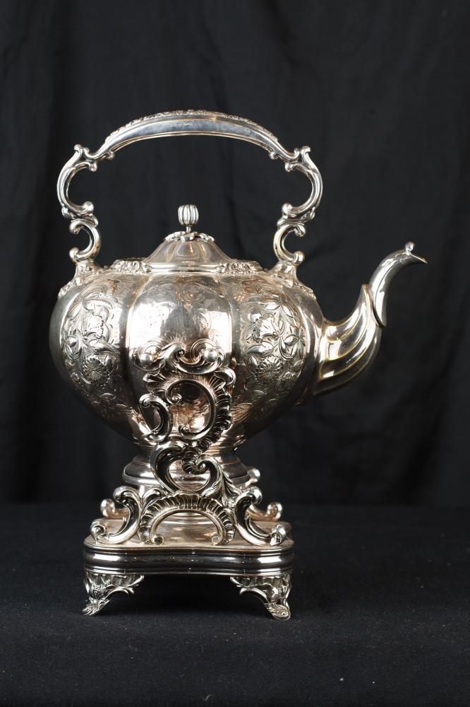 Antike viktorianische Sheffield silberne Platte Teekanne Rococo Wärmer