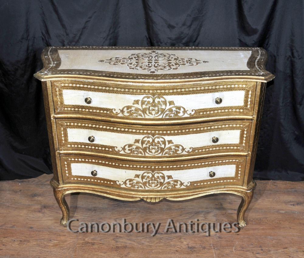 Antiken italienischen neoklassischen Gemaltes Kommode Schubladen Kommode Schrank