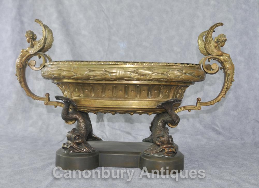 Antique Französisch Reich Clodion Serpent Teller Terrine Ormolu Maidens Bowl Aufsatz