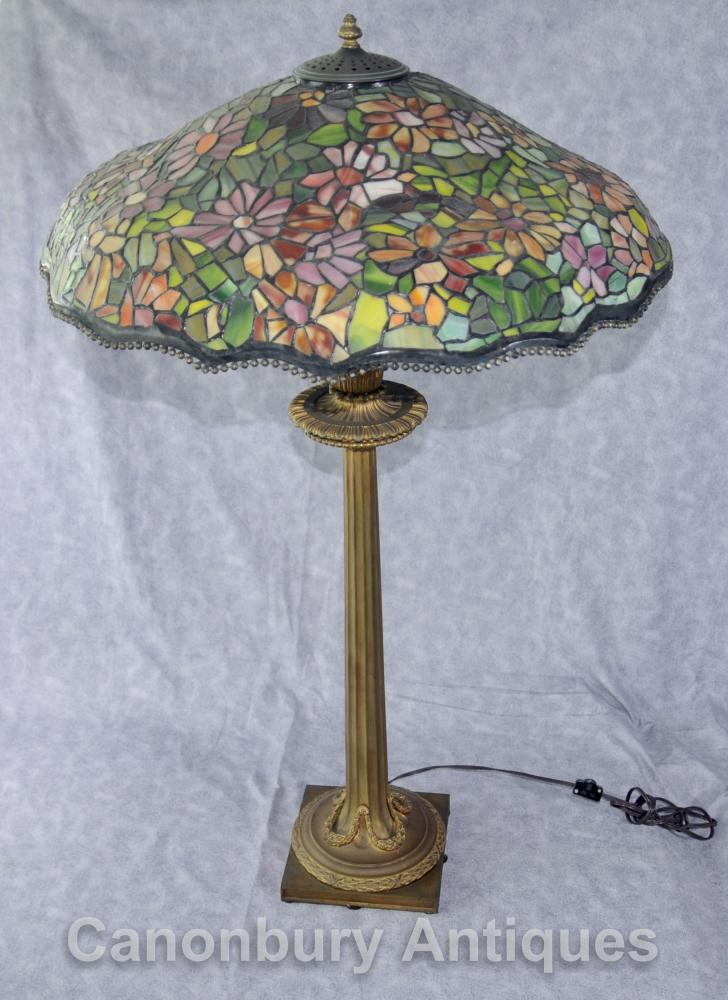 Antique Französisch Tiffany Bronze Tischlampe Licht Glass Shade