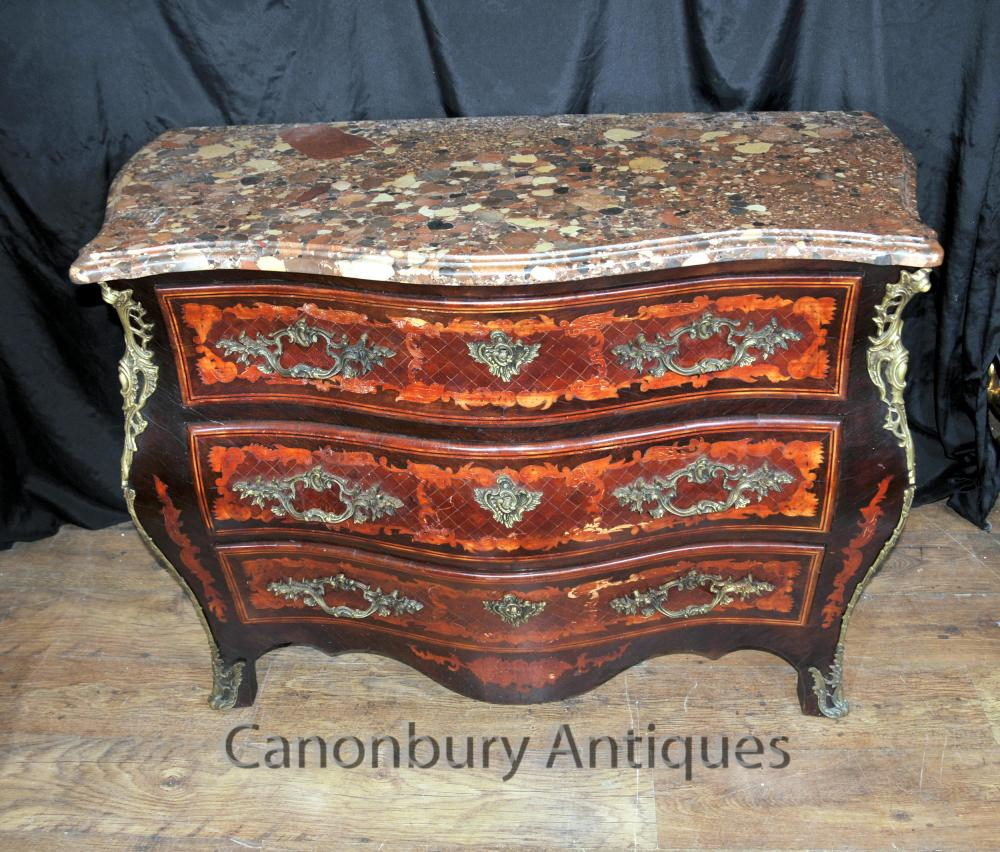 Antique Louis XVI Französisch Kommode Schubladen Intarsien Intarsien Bombe Kommode