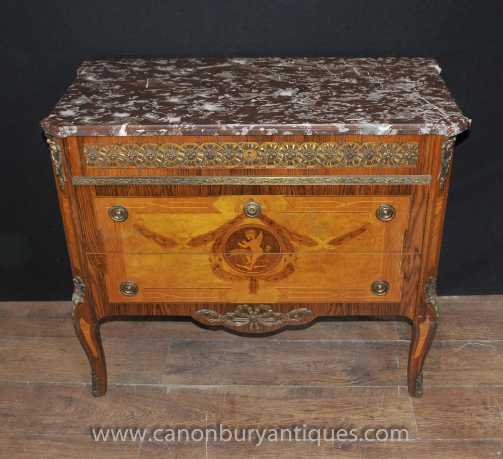 Antique Napoleon II Cherub Intarsien Kommode Kommode Schubladen Ormolu