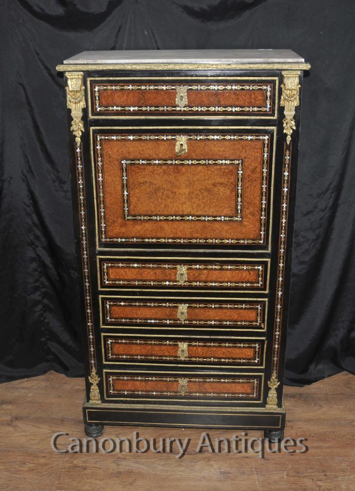 Antique Napoleon III Intarsien Secretaire Schreibtisch Kabinett Perlmutt