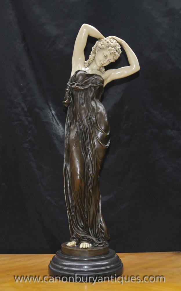 Art Deco Bronze Verlockende Frau Figurine von Gory