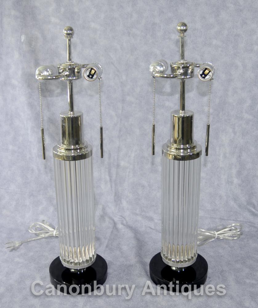 Art Deco Paar Glass silberne Platten Tischleuchten Leuchten