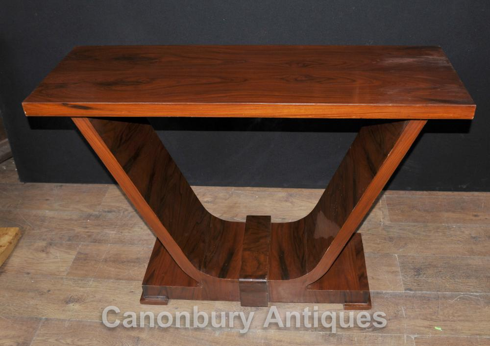 Art Deco Rosewood Console Table Ogee 1920er Vintage-Tabellen