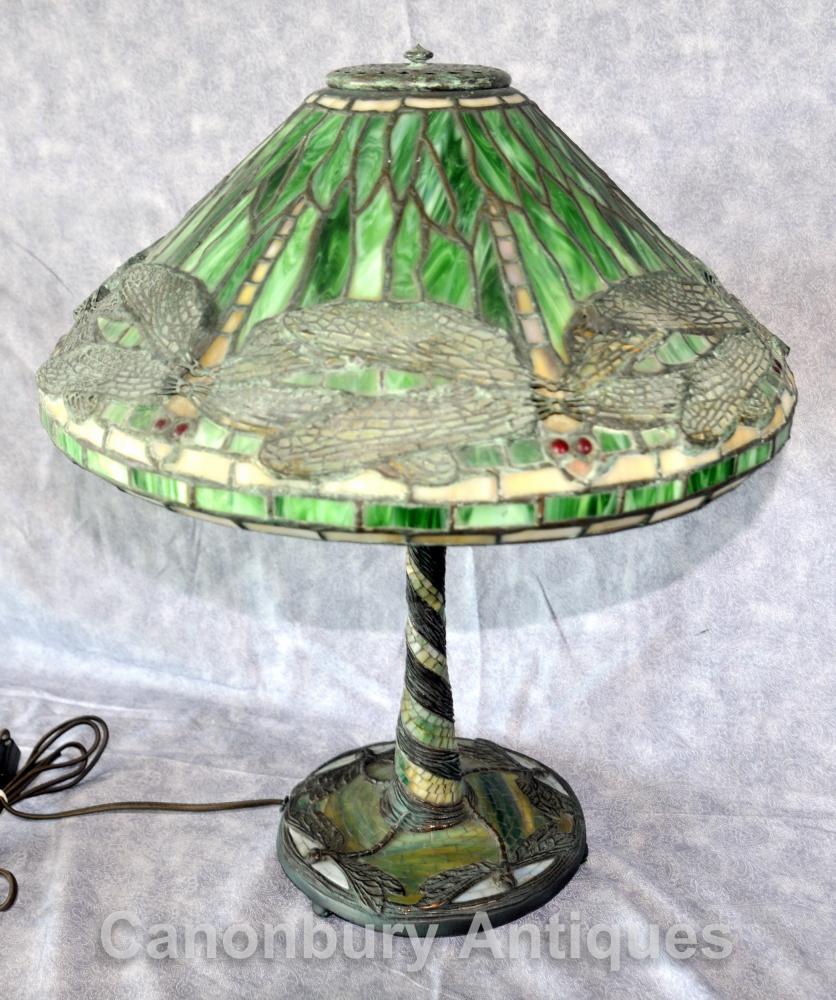Art Nouveau Tiffany Tischlampe Dragonfly Tischleuchte
