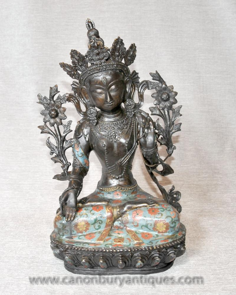 Bronze Nepal Temple Buddhist Statue Usnisa Sitatapatra Buddha Art