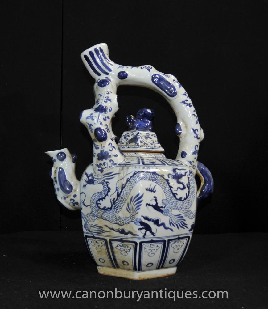 Chinesischen Nanking Porzellan-Teekanne Vase Urne Blau Weiß China