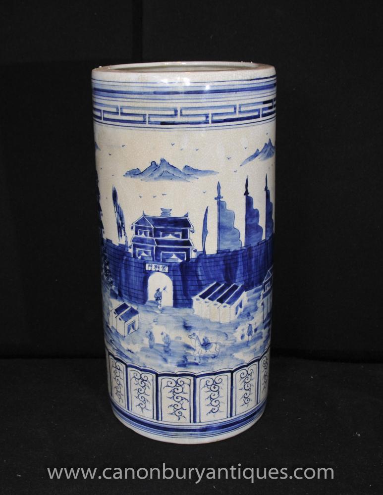 Chinesisches Blau Weiß Kangxi Porzellan Schirmständer Urne Vase Handgemalte