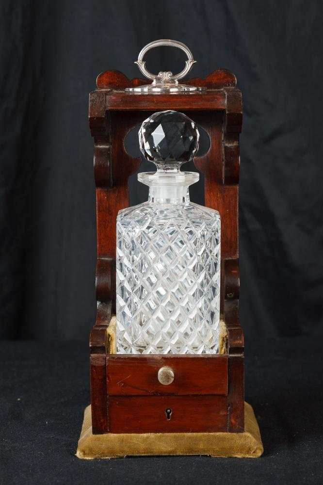 Einzel Victorian Cut Glass Tantalus Decanter Bottle