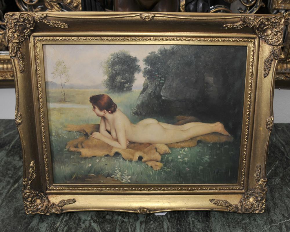 Englisch Edwardian Nude Female Portrait Gilt Frame Kunst