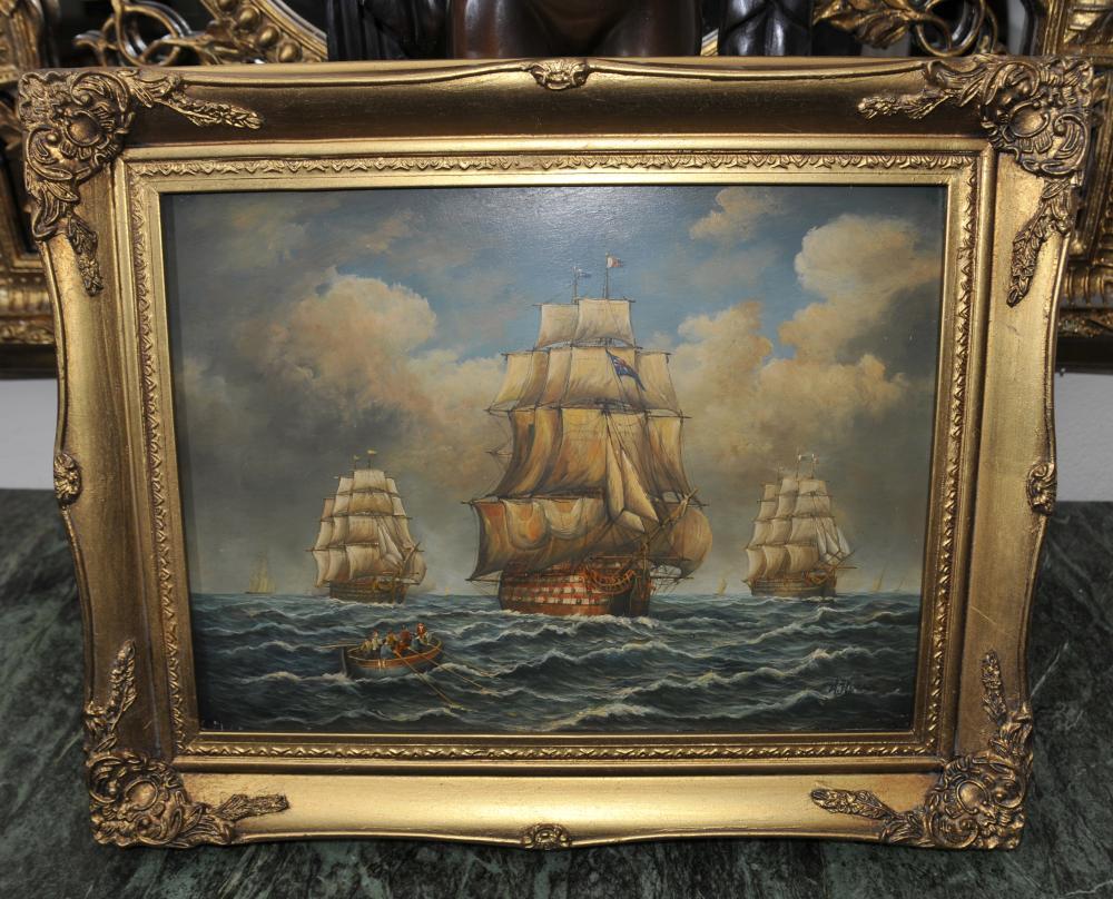 Englisch viktorianischen Ölgemälde Armada Schiff Galleon Seascape signiert
