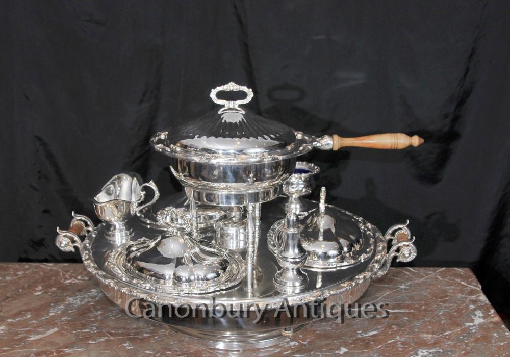Englisch viktorianischen Silber überzogene Lazy Susan Server mit Heizung Sheffield
