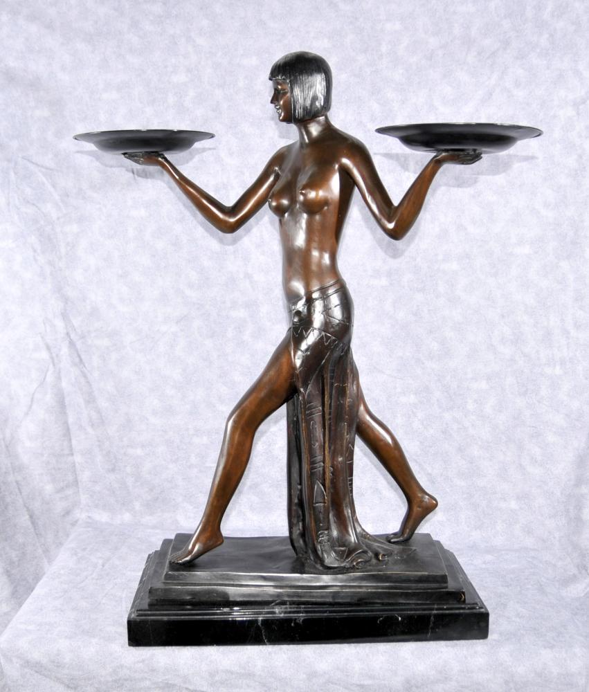 Französisch Art Deco Biba Mädchen Figurine 1920 Nude Statue von Preiss