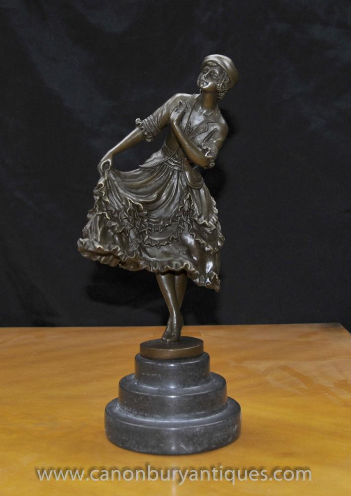 Französisch Art Deco Bronze Tänzerin Figurine von Linet