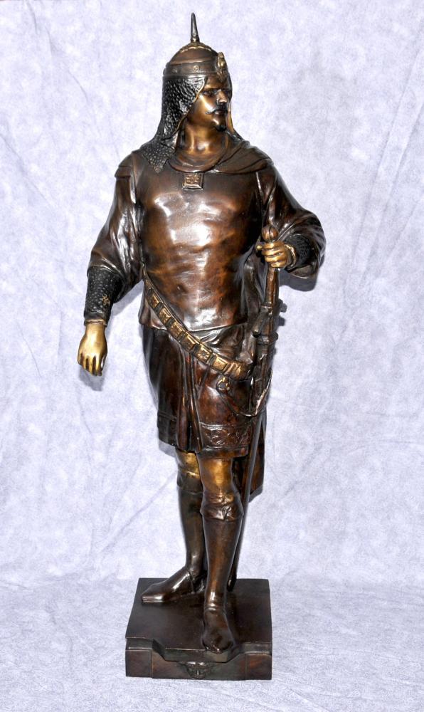 Französisch Bronze Mittelalterlicher Kreuzfahrer-Ritter-Statue-Figürchen