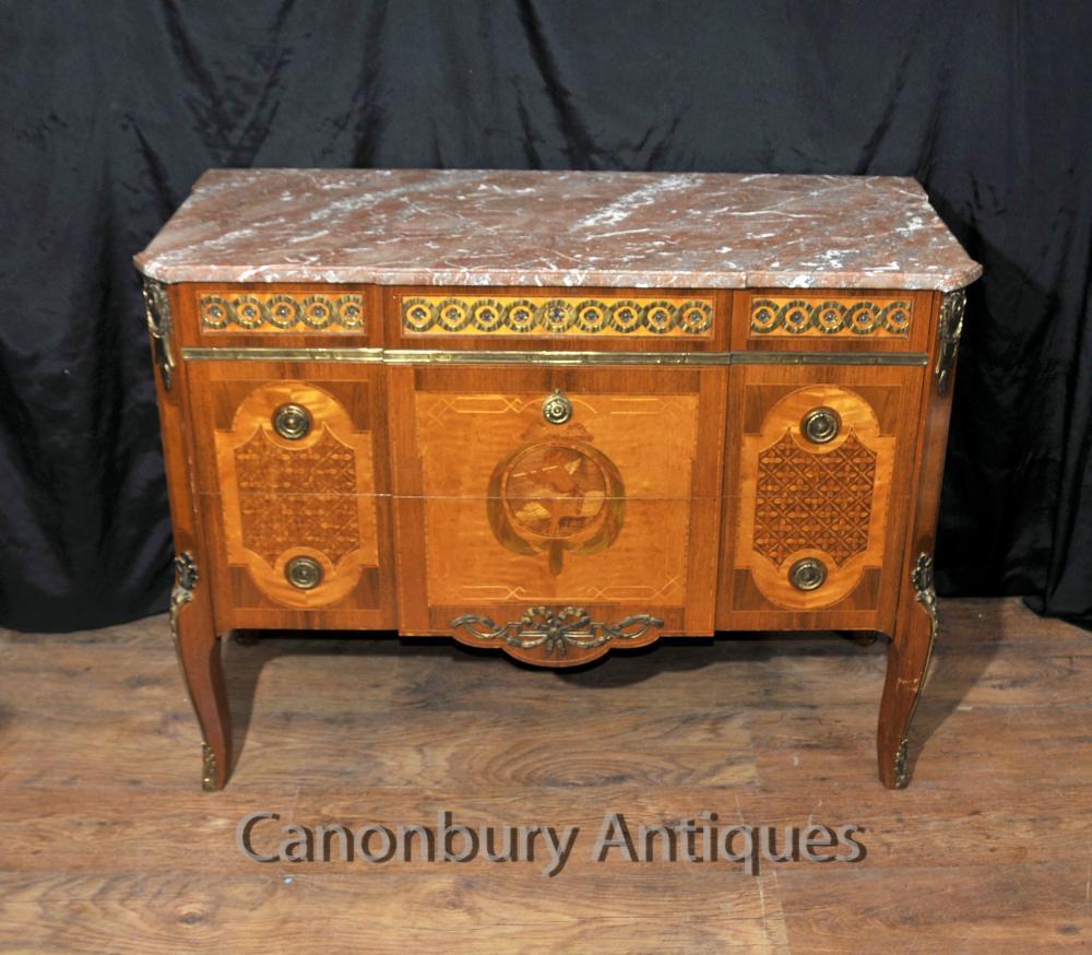 Französisch Kaiserreich Antiquität Kommode Kommode Schubladen Cherub Inlay