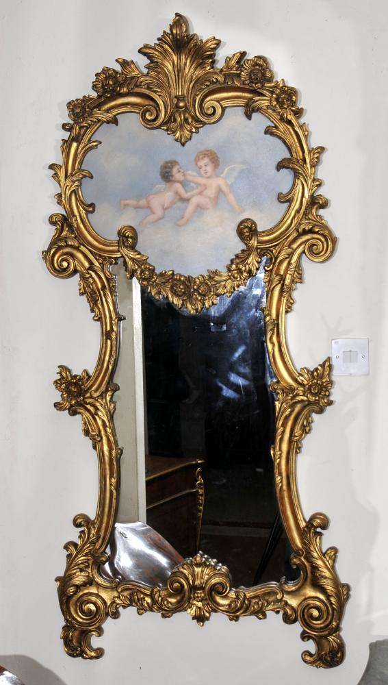 Französisch Rokoko Cherub Gilt Pier Spiegelglas Spiegel Putti