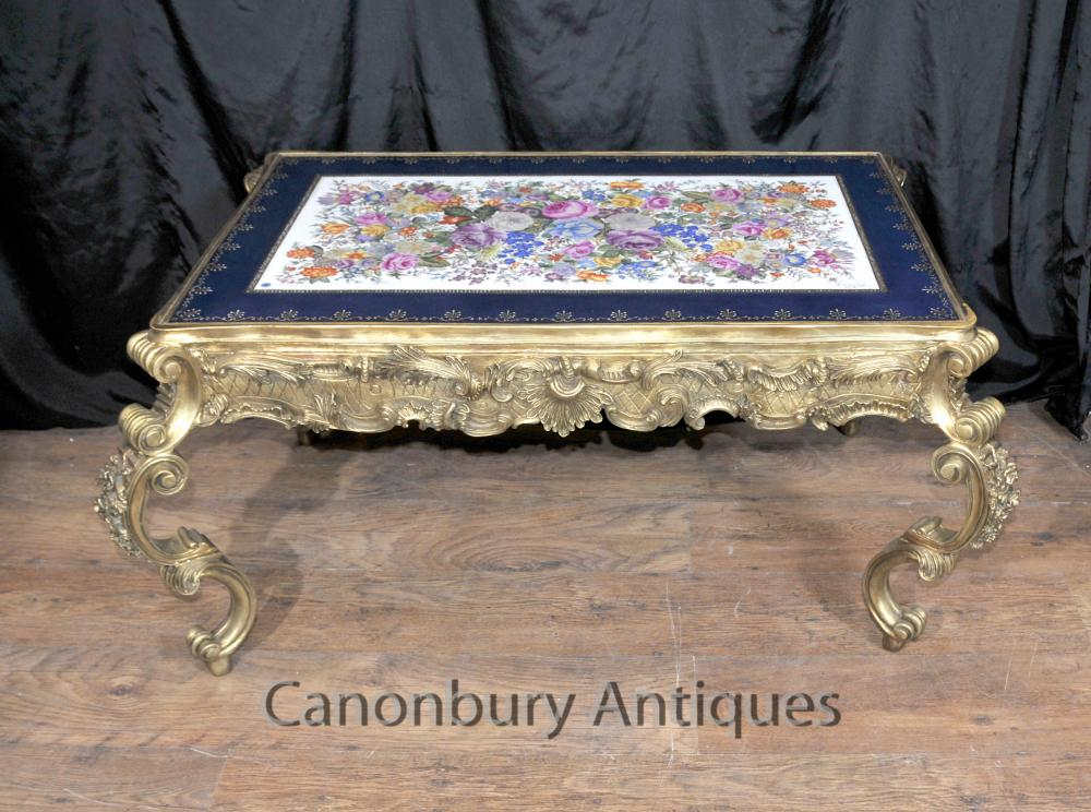 Französisch Sevres Porcelain Coffee Table Ormolu Louis XVI