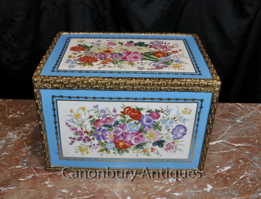 Französisch Sevres Porcelain Floral Jewellery Box Trinket-Kasten
