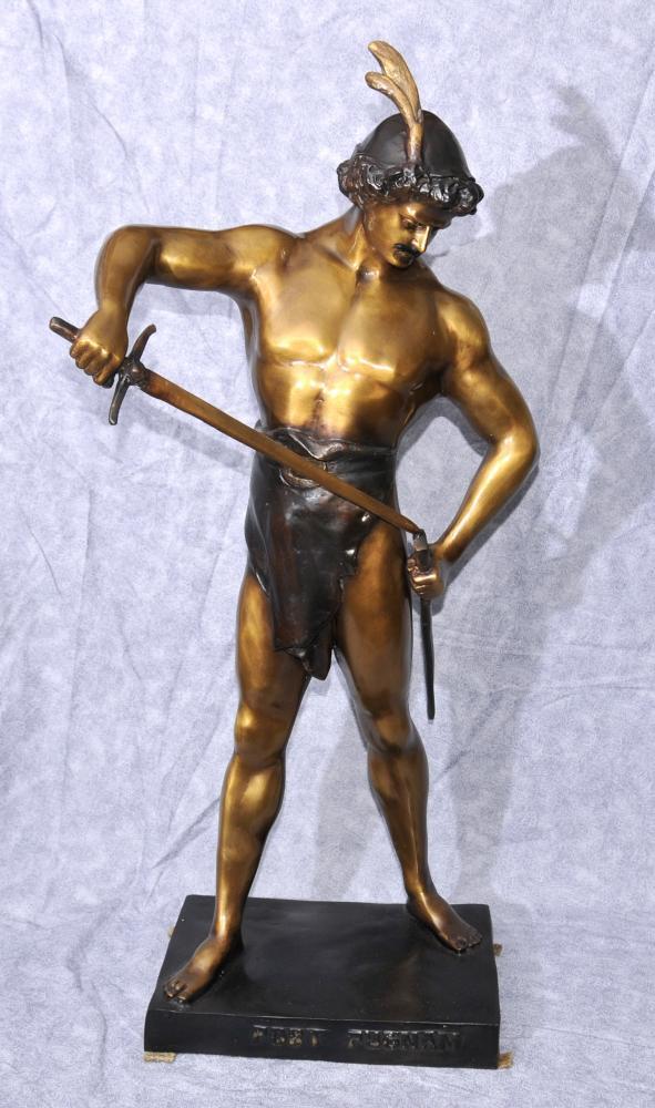 Große Bronze Sieg Männliche Figur Statue von Picault Beitrag Pugnam