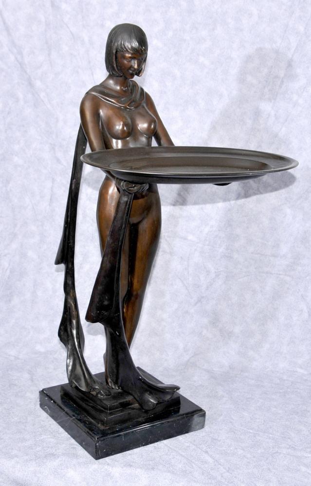 Große Französisch Bronze Art Deco Biba Tray Figurine Statue 1920
