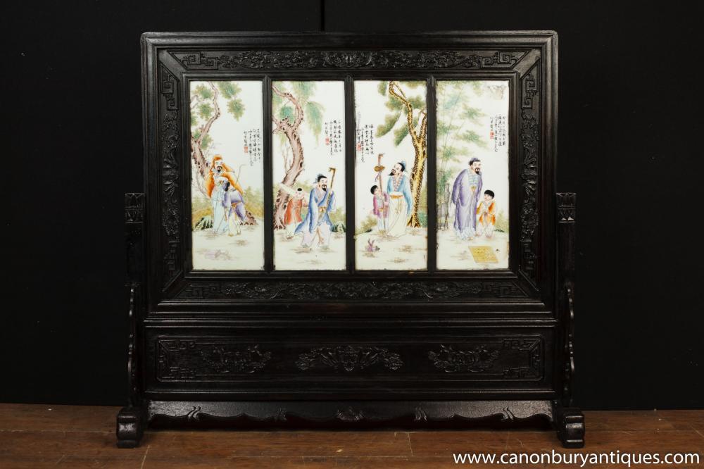 Große japanische Meiji Porzellan Geschnitzte Bildschirmraumteiler