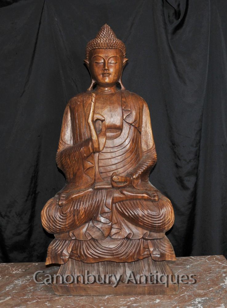 Große tibetischen Buddha-Statue Tibet Buddhismus Geschnitzte Lotus-Haltungs-