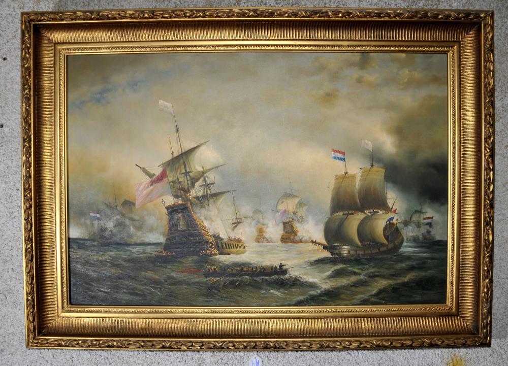 Große viktorianische Ölmalerei Schlacht von Trafalgar Seascape Gilt Frame