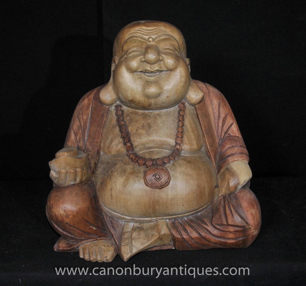 Hand geschnitzte Happy Buddha Statue Lachen Buddhistische Kunst