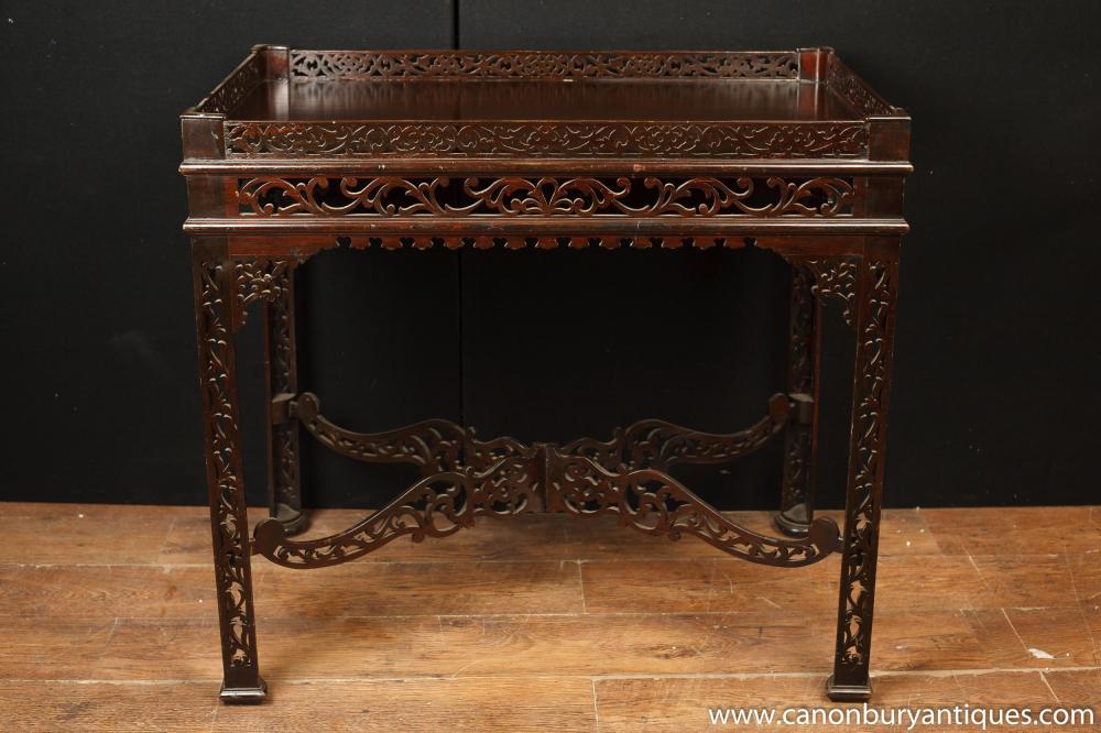 Hand geschnitzte Mahagoni chinesischen Chippendale Beistelltisch Tabellen
