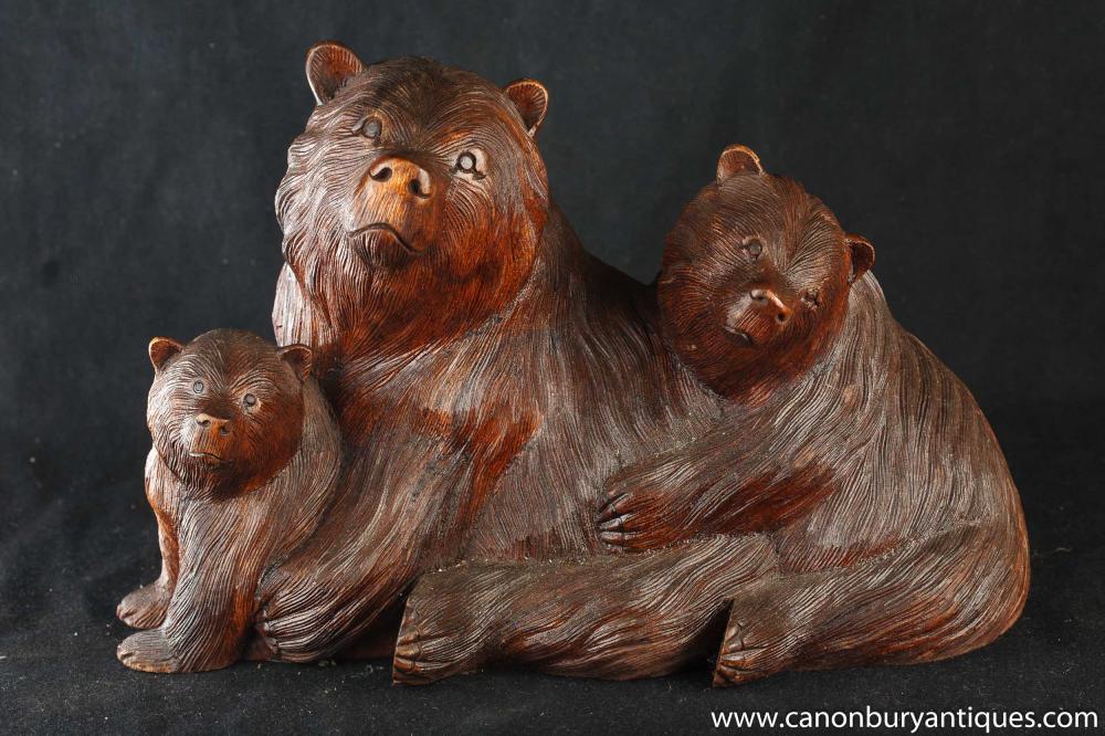 Hand geschnitzten Holz Black Forest Bear Familie Statue Braunbären Cubs