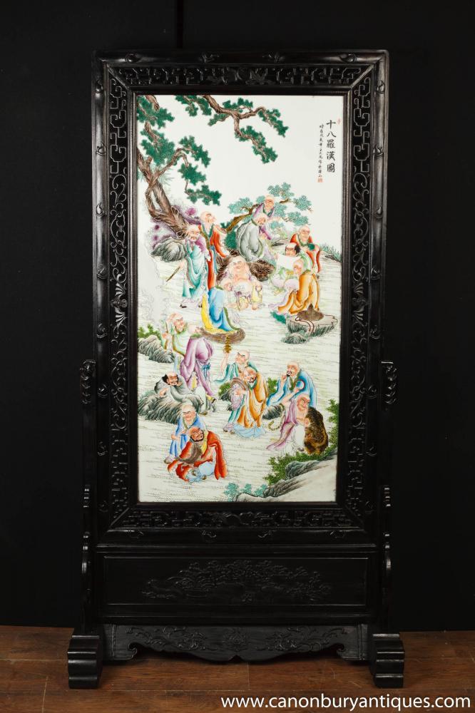 Handgemalte japanischen Kakiemon Porzellan Geschnitzte Bildschirmraumteiler