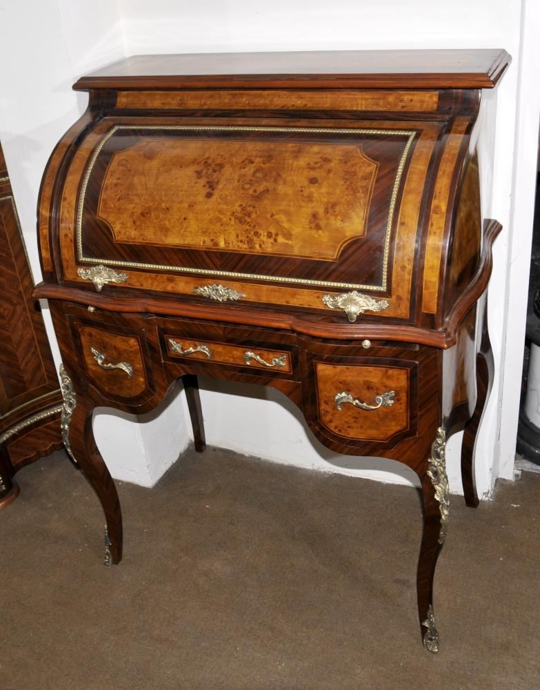 Louis XVI Roll Top Schreibtisch Walnut Bureau Plat Möbel
