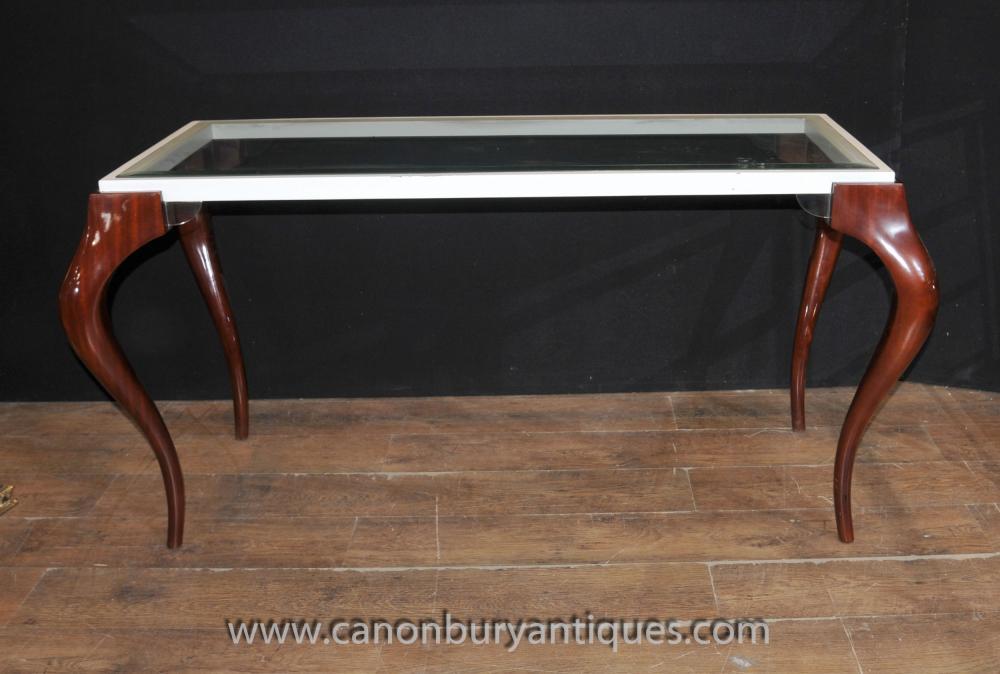 Mid Century Modern Glas Mahagoni-Konsole Tabelle Tabellen