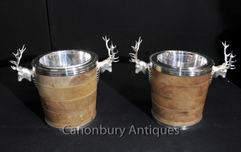 Paar Englisch silberne Platten Stag Weinkühler Champagne Eimer Urnen