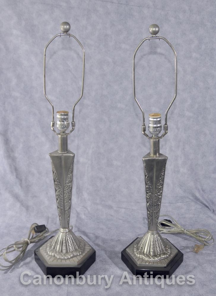 Paar Französisch Art Deco Tischleuchten Silber Bronze