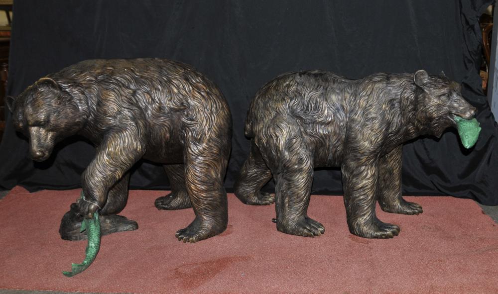 Paar Französisch Bronze amerikanischen Grizzly Bear Springbrunnen Statuen Salmon