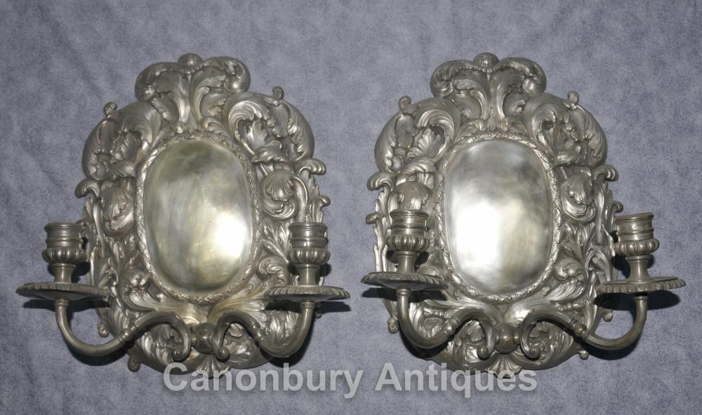 Paar Französisch Louis XVI silberne Platten Rococo Lampen Wandleuchten