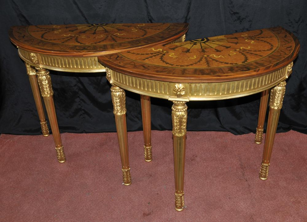 Pair Gilt Adams Console Tables Demi Inlay Möbel